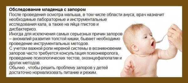 Обследование малыша с запором