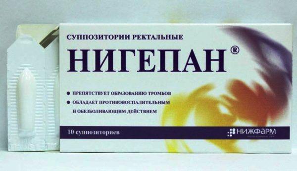 Препарат Нигепан представляет собой комбинацию активных веществ гепарина и бензокаина