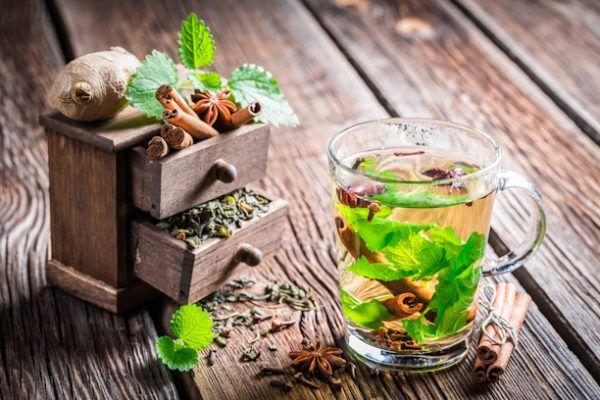 Имбирный чай с корицей и мятой