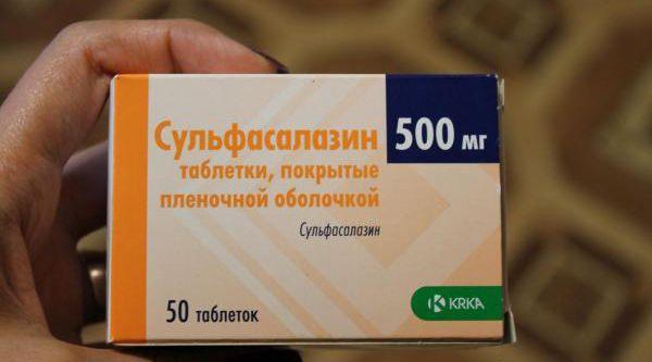 Препарат Сульфасалазин применяется в качестве быстродействующего противовоспалительного и противомикробного средства