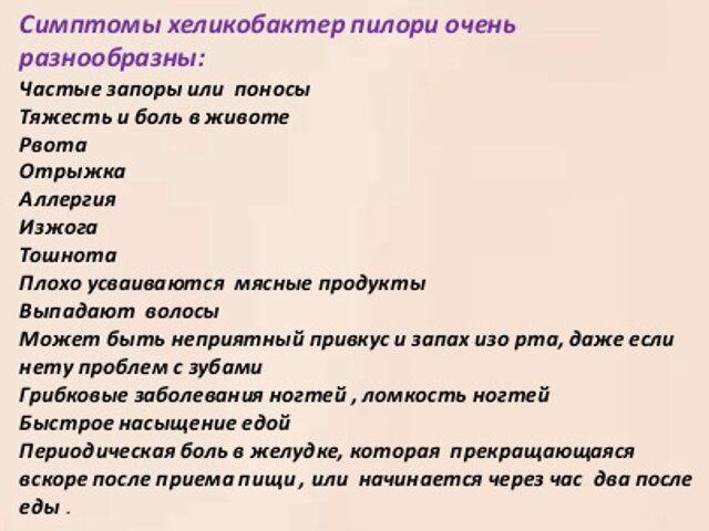 Симптомы хеликобактер пилори