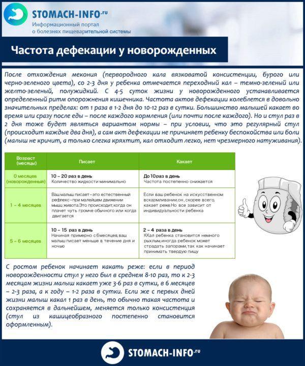 Частота дефекации у новорожденных