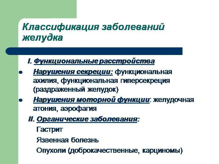 Классификация заболеваний желудка