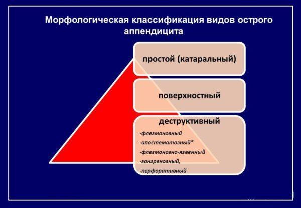 Морфологическая классификация видов острого аппендицита