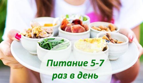 Питание должно быть дробным и не менее 5 раз в день