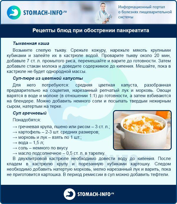 Рецепты блюд при обострении панкреатита