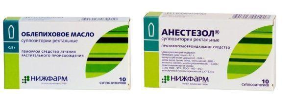 Свечи с облепихой и Анестезол могут применяться при болезнях кишечника