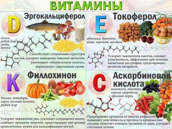 Витамины С, Е, Д, К