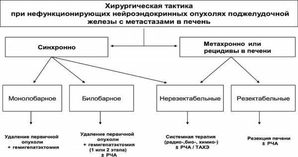 Алгоритм дифференцированного хирургического подхода у пациентов с нефункционирующими НЭО поджелудочной железы
