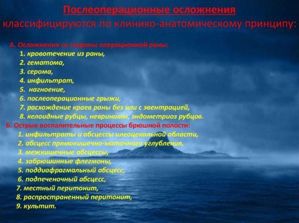 Классификация послеоперационных осложнений