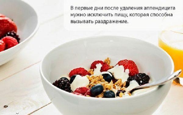 Диета аппендицит фрукты
