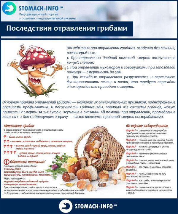 Последствия отравления грибами