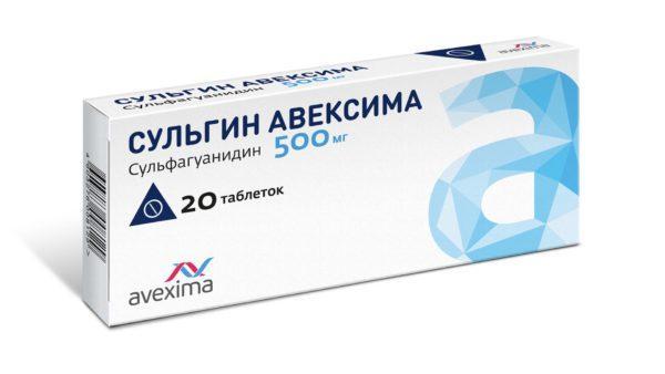 Препарат Сульгин снижает болезненные позывы к дефекации