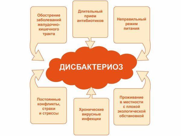 Причины дисбаланса микрофлоры кишечника