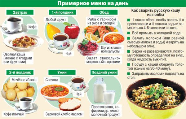 Примерное меню для здорового питания