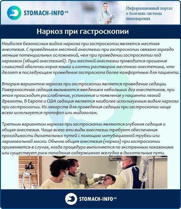 Наркоз при гастроскопии