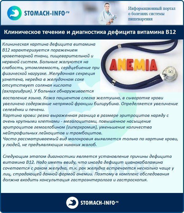 Клиническое течение и диагностика дефицита витамина В12