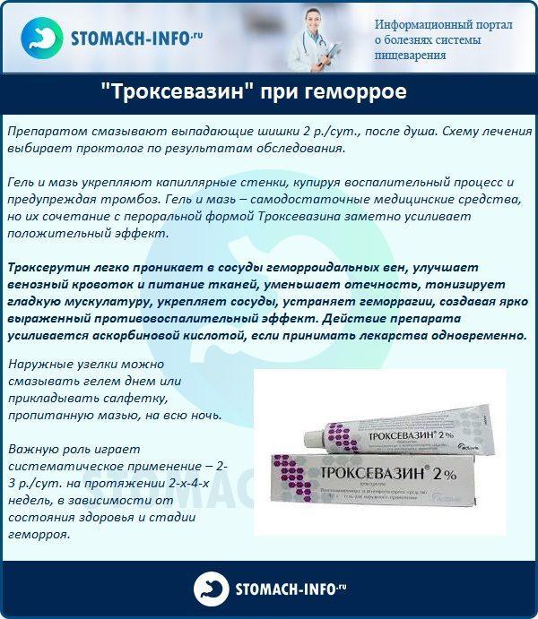 """Троксевазин"" при геморрое"