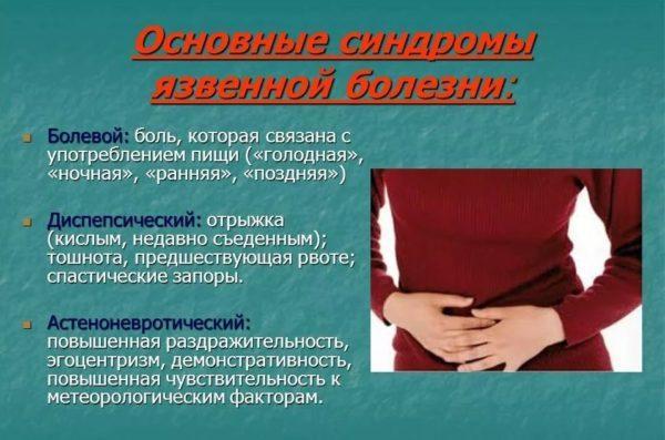 Симптомы, указывающие на язву желудка