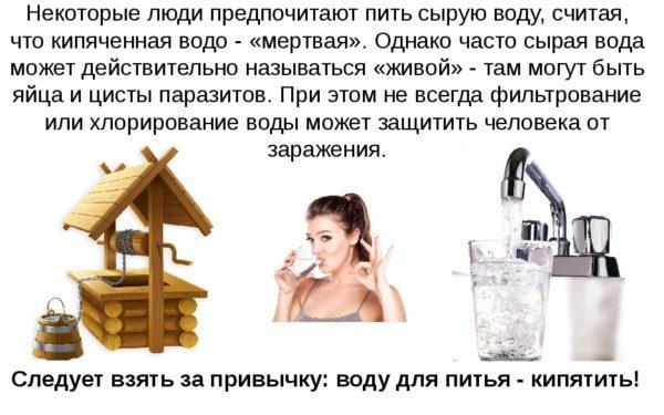 Следует взять за привычку: воду для питья - кипятить