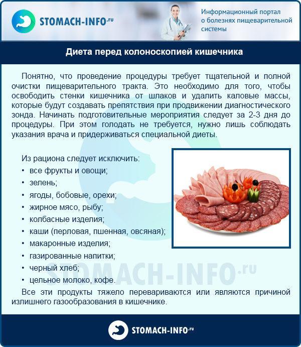 Диета перед колоноскопией кишечника