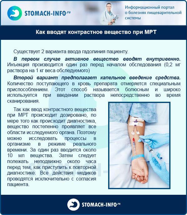 Как вводят контрастное вещество при МРТ