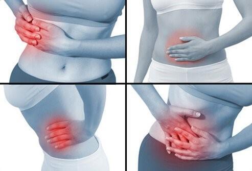 Места, где наиболее часто локализуется боль при аппендиците, показаны на рисунке