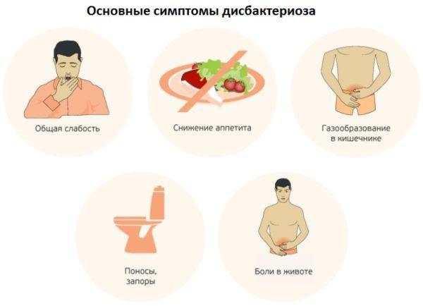 Основные симптомы дисбактериоза кишечника у взрослого