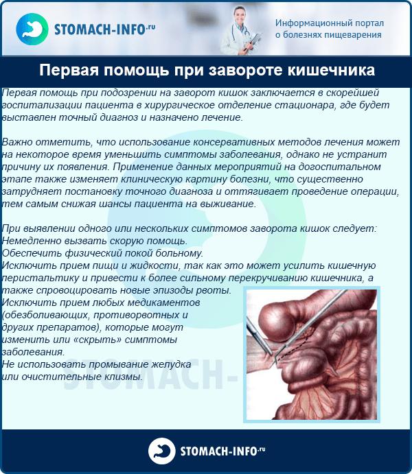 Первая помощь при завороте кишечника