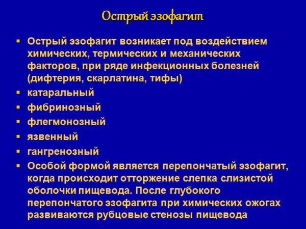 Классификация острого эзофагита