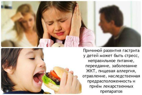 Причины гастрита у детей