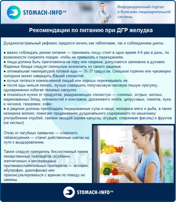 Рекомендации по питанию при ДГР желудка