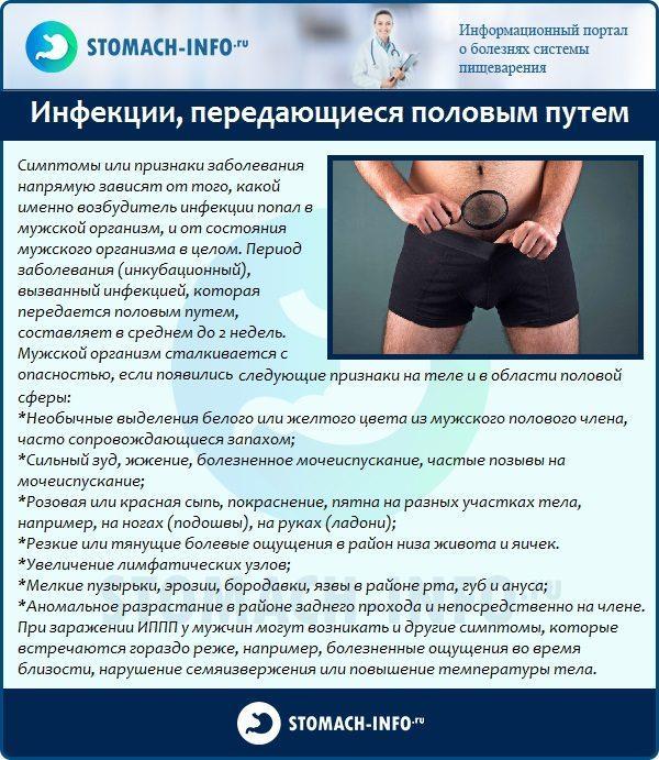 Признаки инфекций, передающихся половым путем