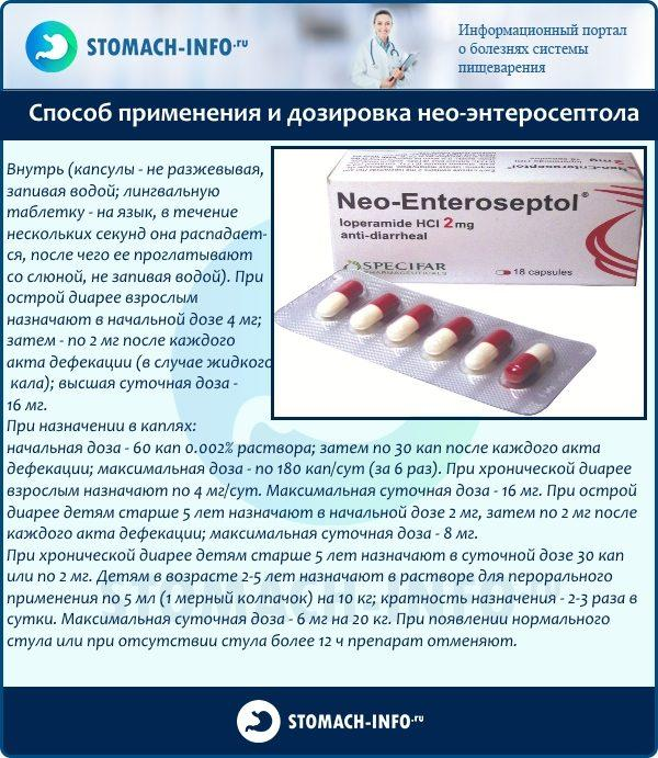 Способ применения и дозировка препарата {amp}quot;Нео-Энтеросептол{amp}quot;