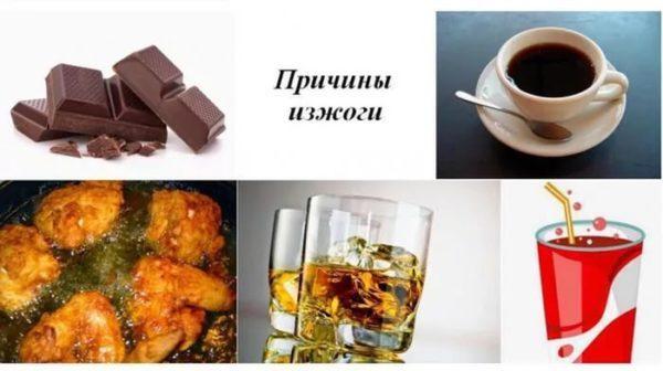 Чаще всего изжогу вызывает крепкий кофе на пустой желудок, газировка, фастфуд