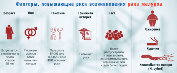 Факторы, способствующие риску возникновения рака желудка