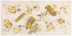 Измененная форма, волокна (белковые волокна переварены полностью)