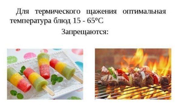 Оптимальная температура потребляемых блюд