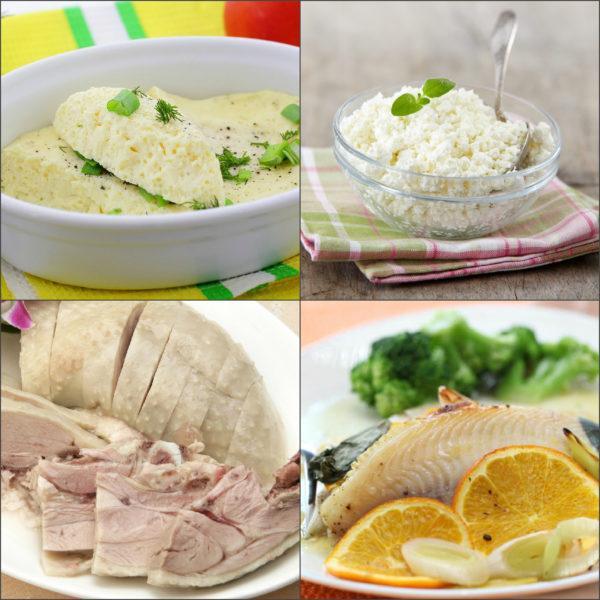 Основой диеты являются нежирное мясо и рыба, кисломолочные продукты