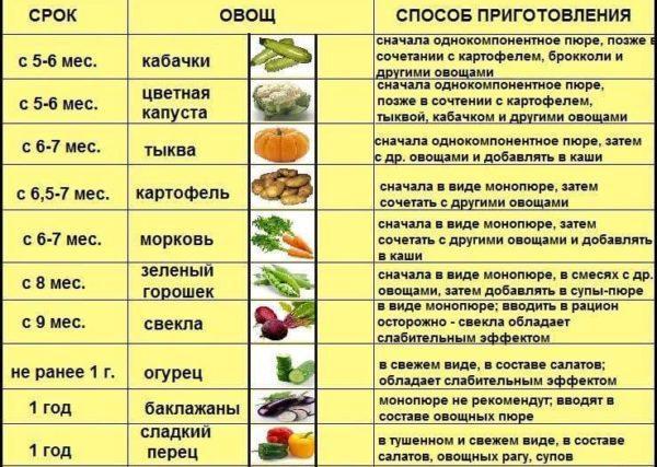 Продукты для прикорма по месяцам