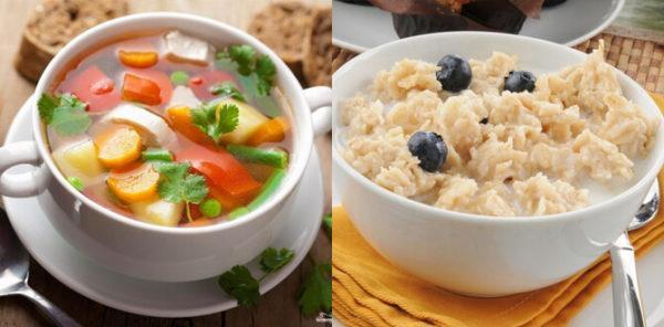 Ежедневный рацион должен включать каши на воде и овощные супы - эти блюда не образуют шлаков в кишечнике и не способствуют образованию газов