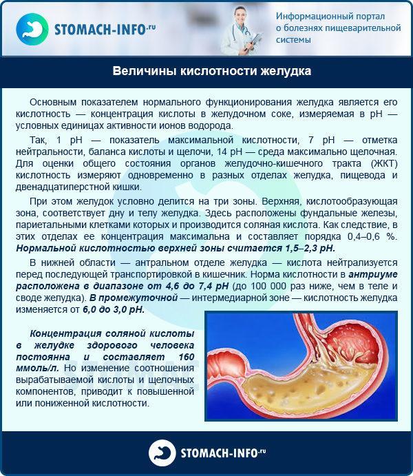 Величины кислотности желудка