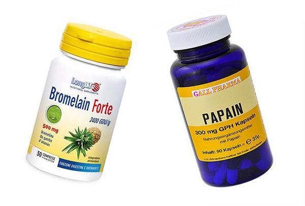 Медикаментозное лечение препаратами бромелайн и папаин